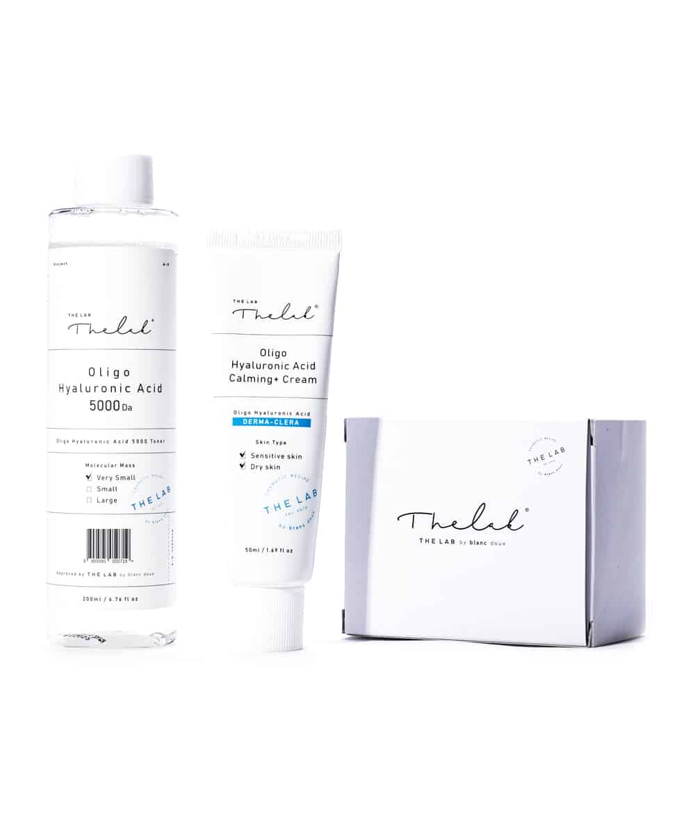 The Lab by Blanc Doux Oligo Hyaluronic Acid 5000 Toner (200ml) + Calming Cream (50ml) + Cotton Pads (Box of 40 Sheets)