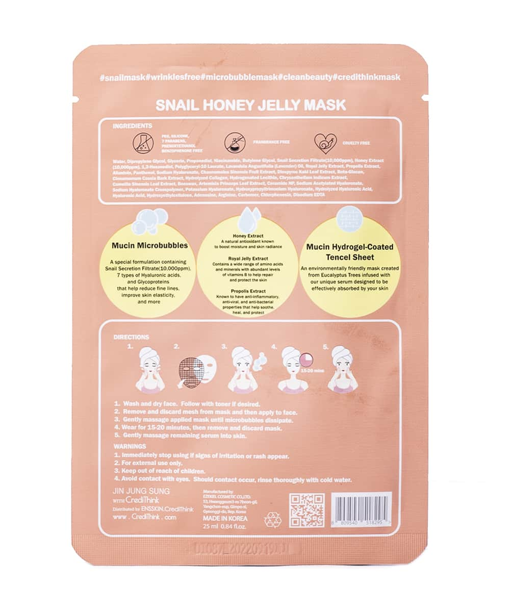 [Jin Jung Sung x CrediThink] Snail Honey Jelly Mask (Back)