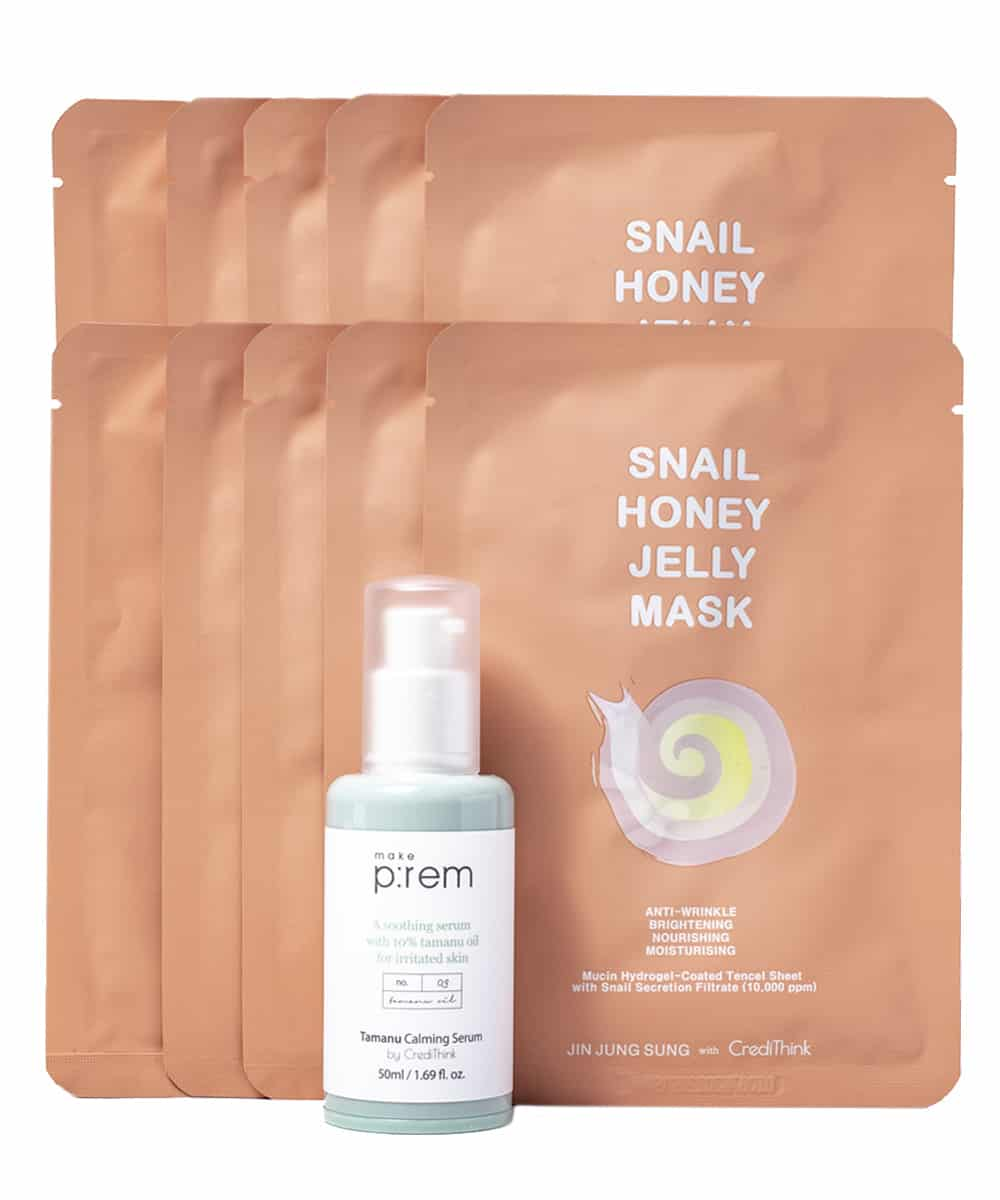 [CrediThink Special] Tamanu Calming Serum and Snail Honey Jelly Mask Set